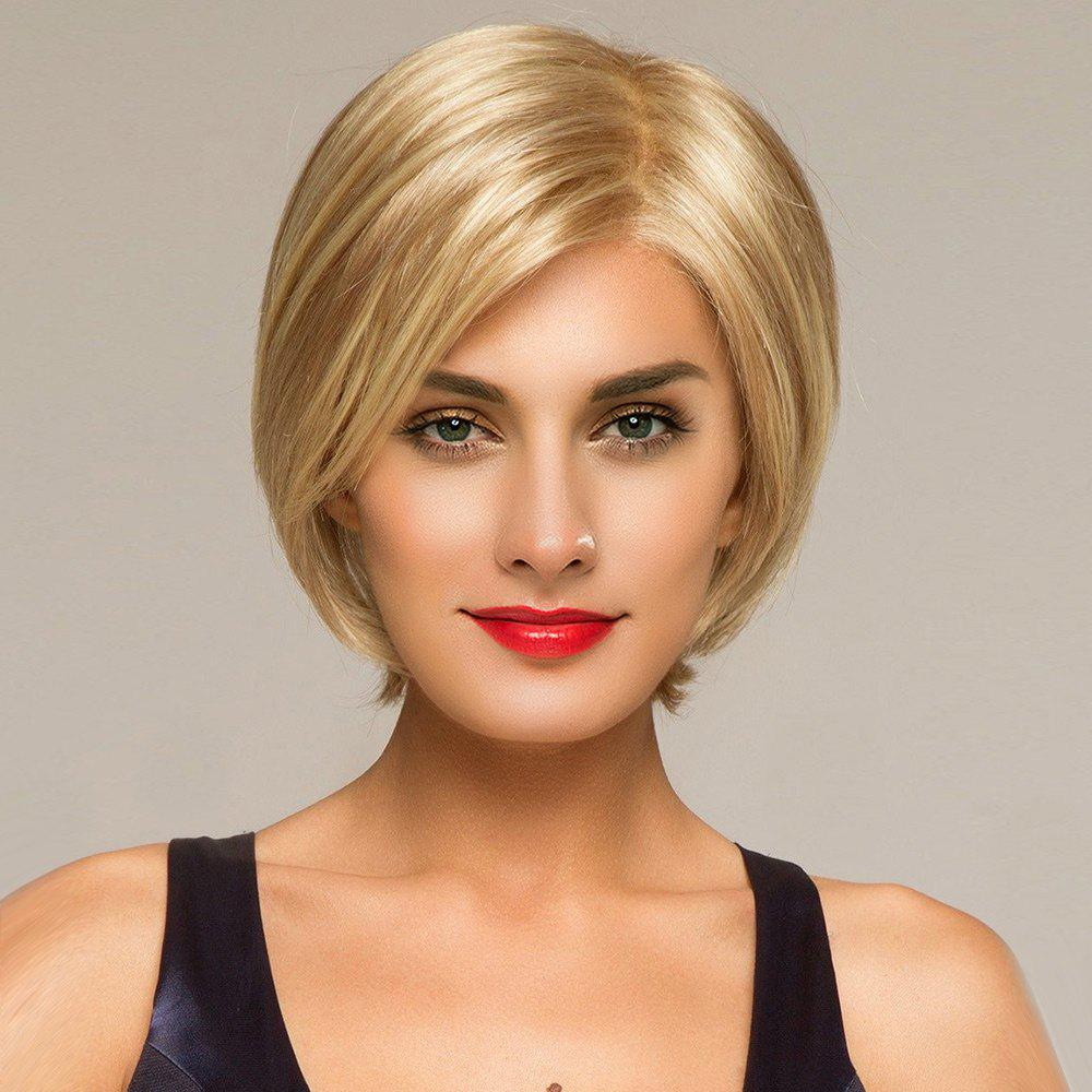 Short Side Part Straight Lace Front Human Hair Wig - GOLDEN BROWN/BLONDE