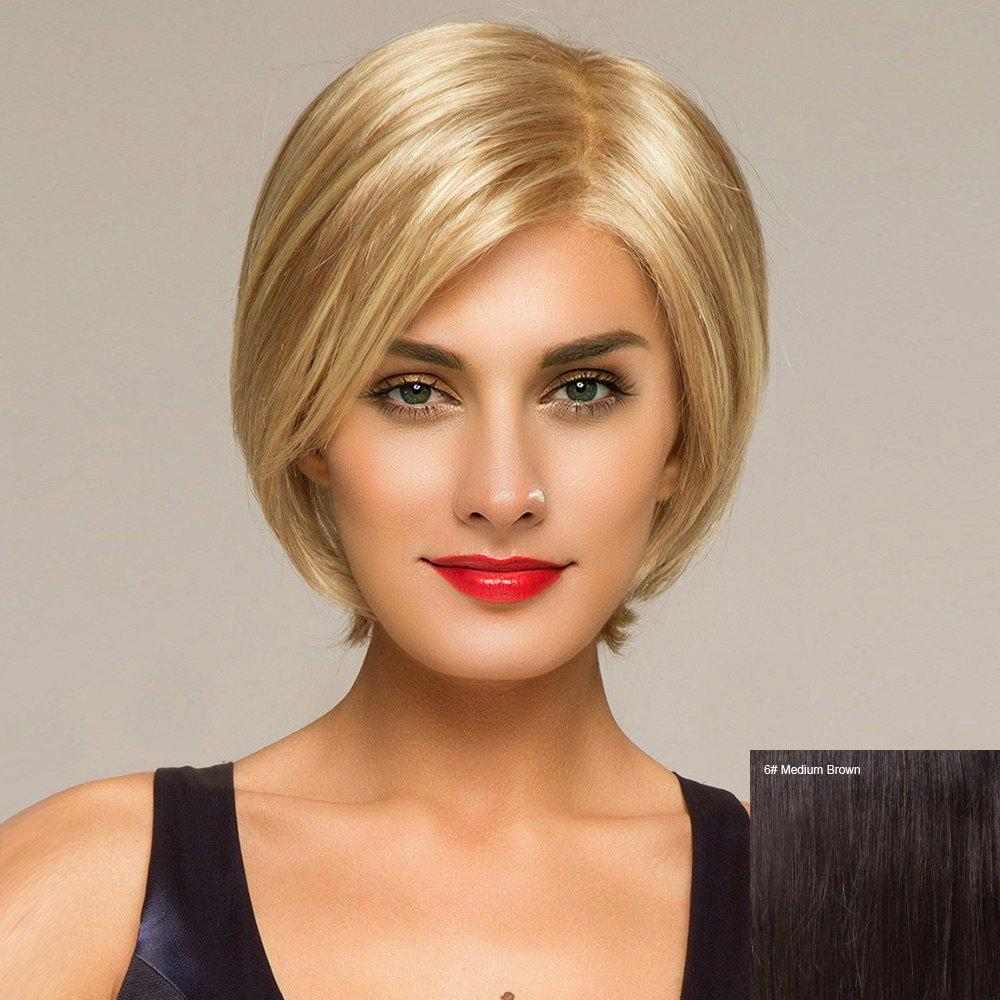 Short Side Part Straight Lace Front Human Hair Wig - MEDIUM BROWN