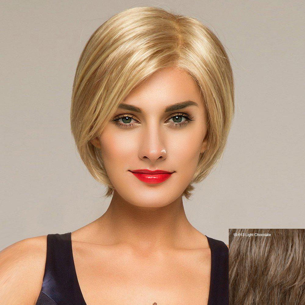 Short Side Part Straight Lace Front Human Hair Wig - LIGHT CHOCOLATE