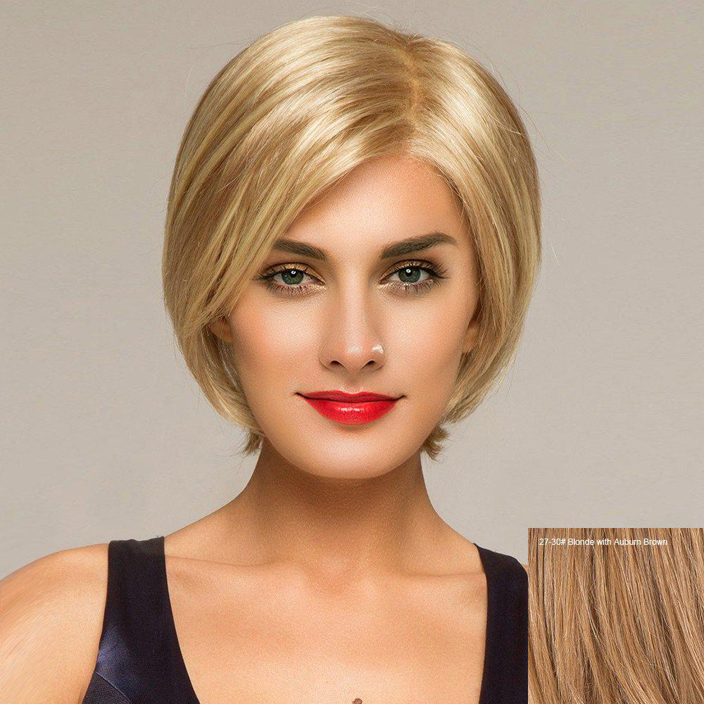 Short Side Part Straight Lace Front Human Hair Wig - BLONDE/AUBURN BROWN