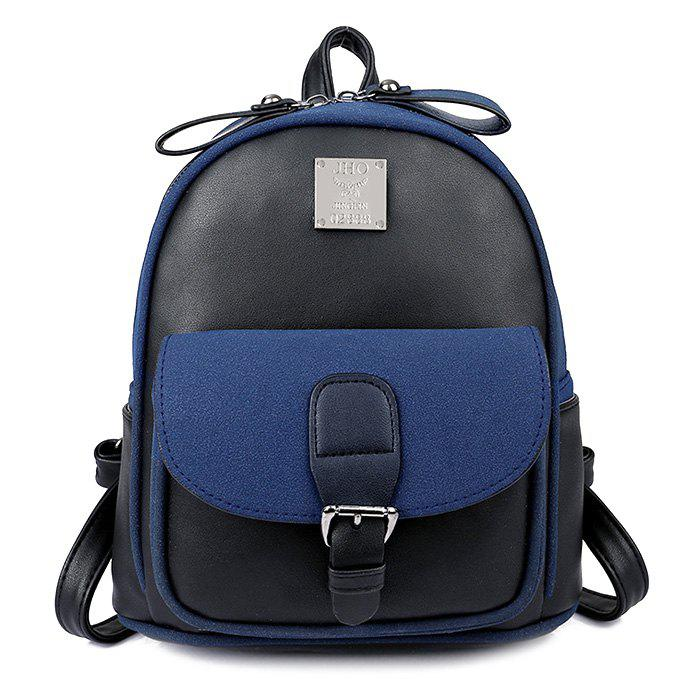 Buckle Strap Metal Detail Backpack With Handle - BLACK
