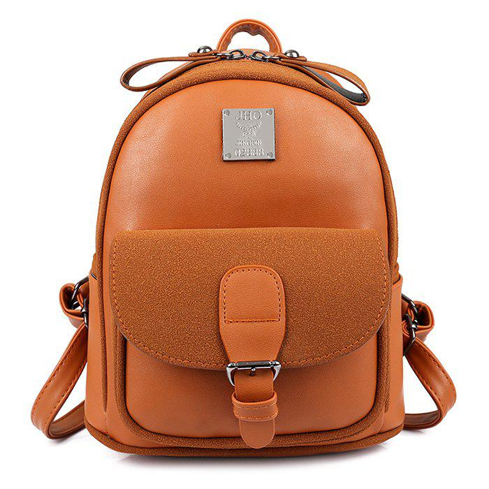 Buckle Strap Metal Detail Backpack With Handle - BROWN