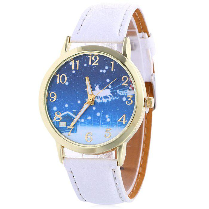 Christmas Night Deer Face Number Watch - WHITE