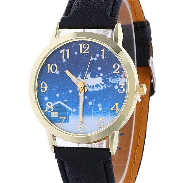 Christmas Night Deer Face Number Watch - BLACK