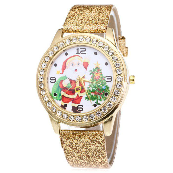 Christmas Santa Tree Face Glitter Watch - GOLDEN