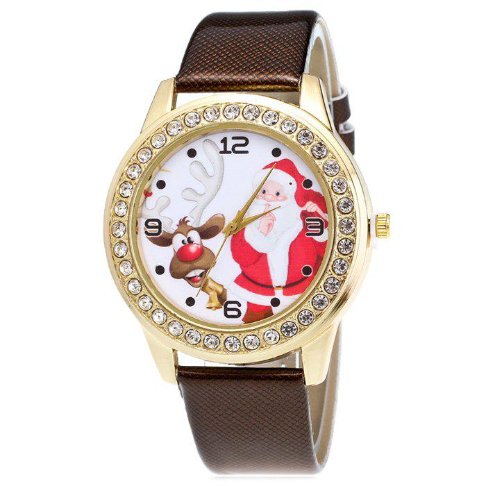 Christmas Santa Deer Face Rhinestone Watch - BROWN
