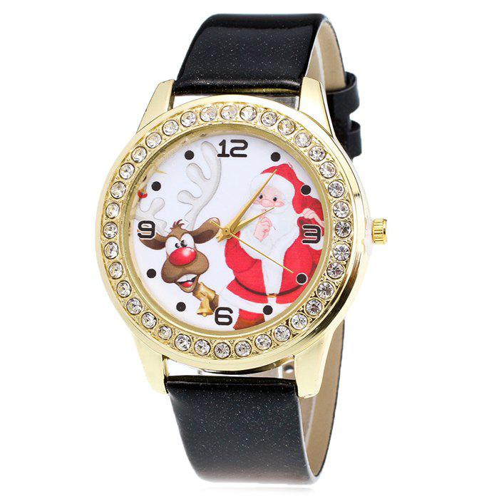 Christmas Santa Deer Face Rhinestone Watch - BLACK