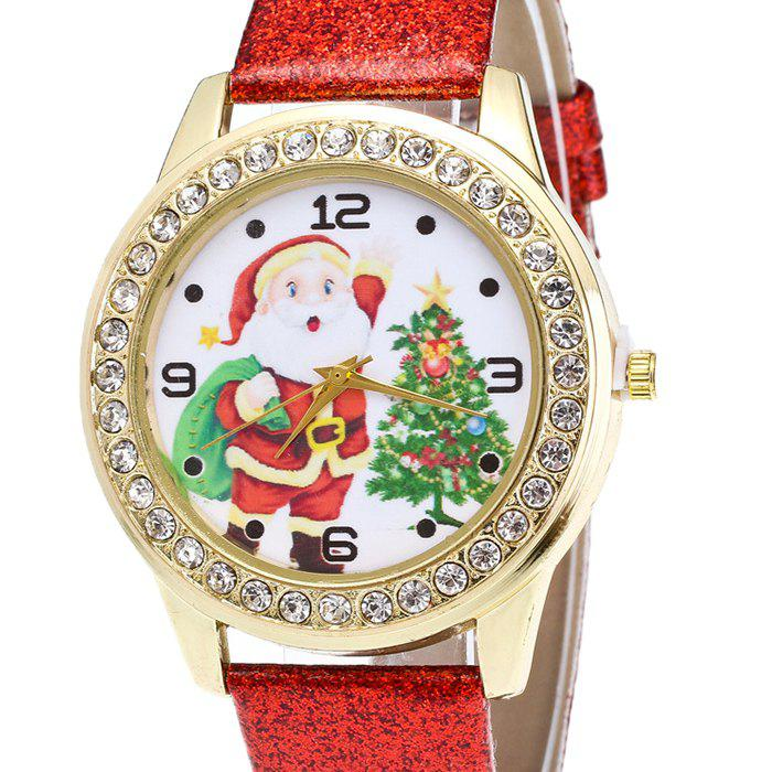 Christmas Santa Tree Face Glitter Watch - RED