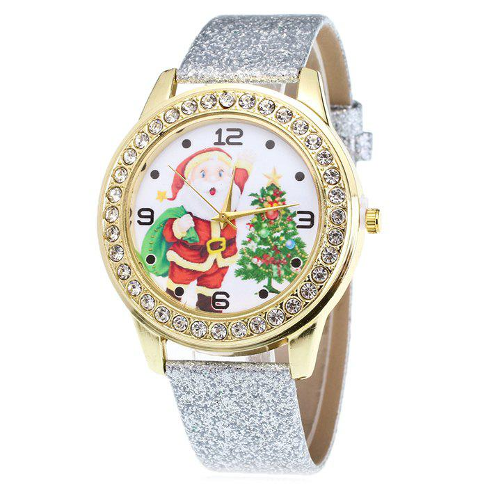 Christmas Santa Tree Face Glitter Watch - SILVER