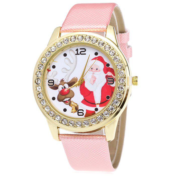 Christmas Santa Deer Face Rhinestone Watch - PINK