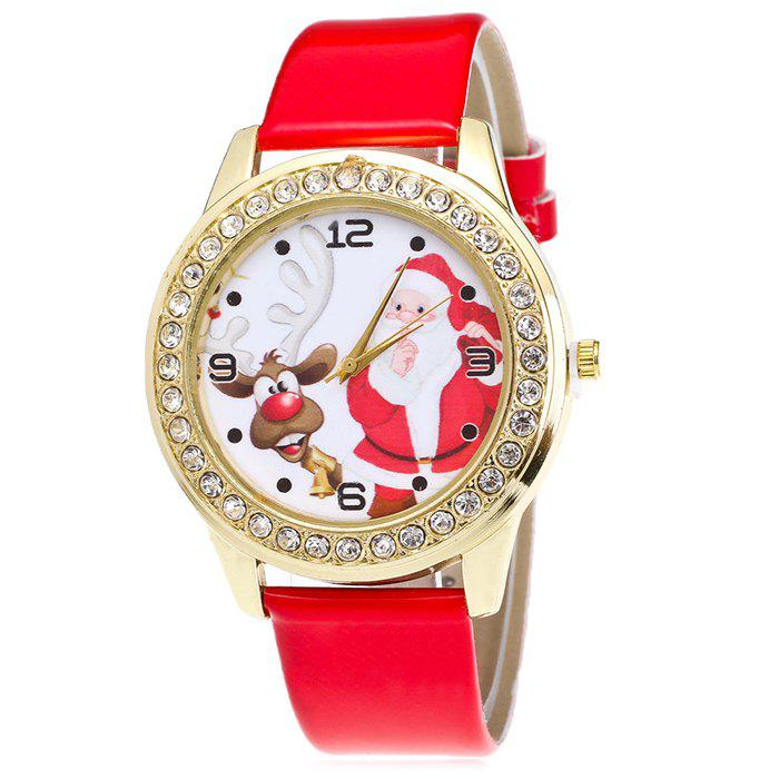 Christmas Santa Deer Face Rhinestone Watch - RED