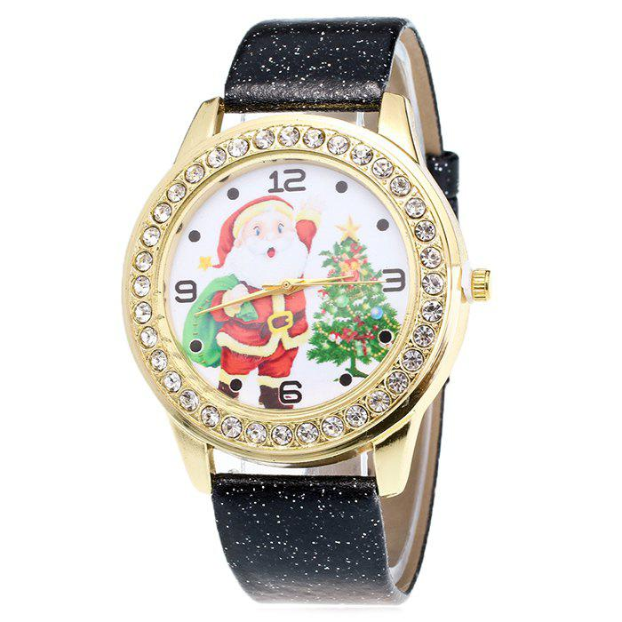 Christmas Santa Tree Face Glitter Watch - BLACK