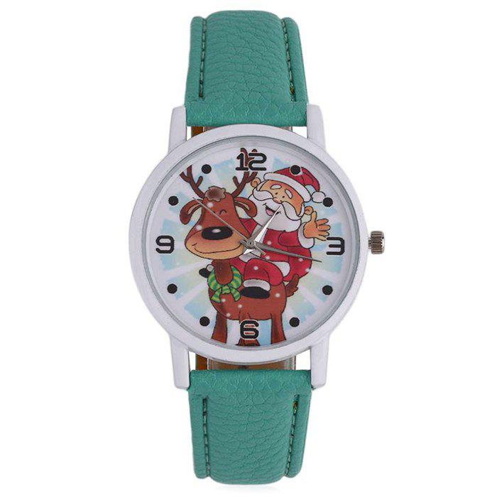 Christmas Deer Santa Face Number Watch - GREEN