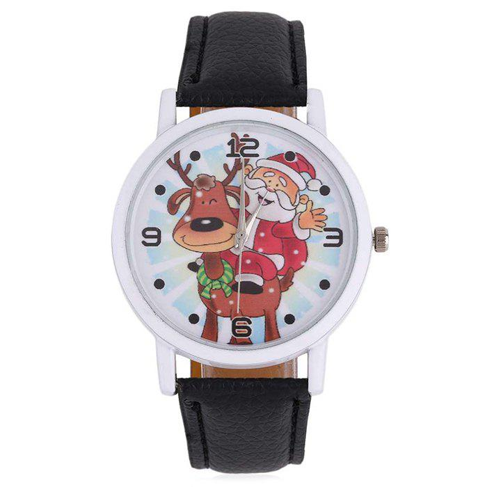 christmas deer santa face number watch black - Watch Black Christmas