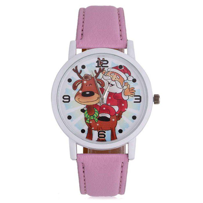 Christmas Deer Santa Face Number Watch - PINK