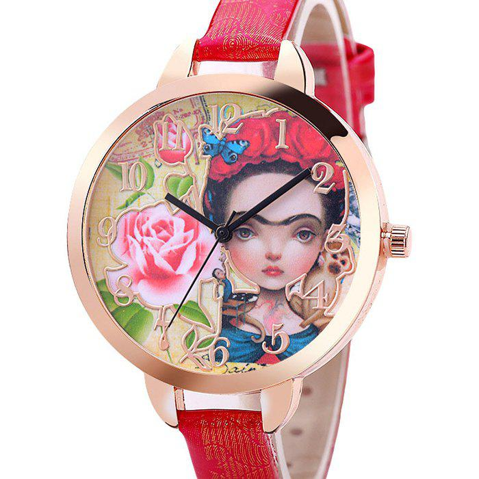 Flower Girl Face Number Watch - Rouge