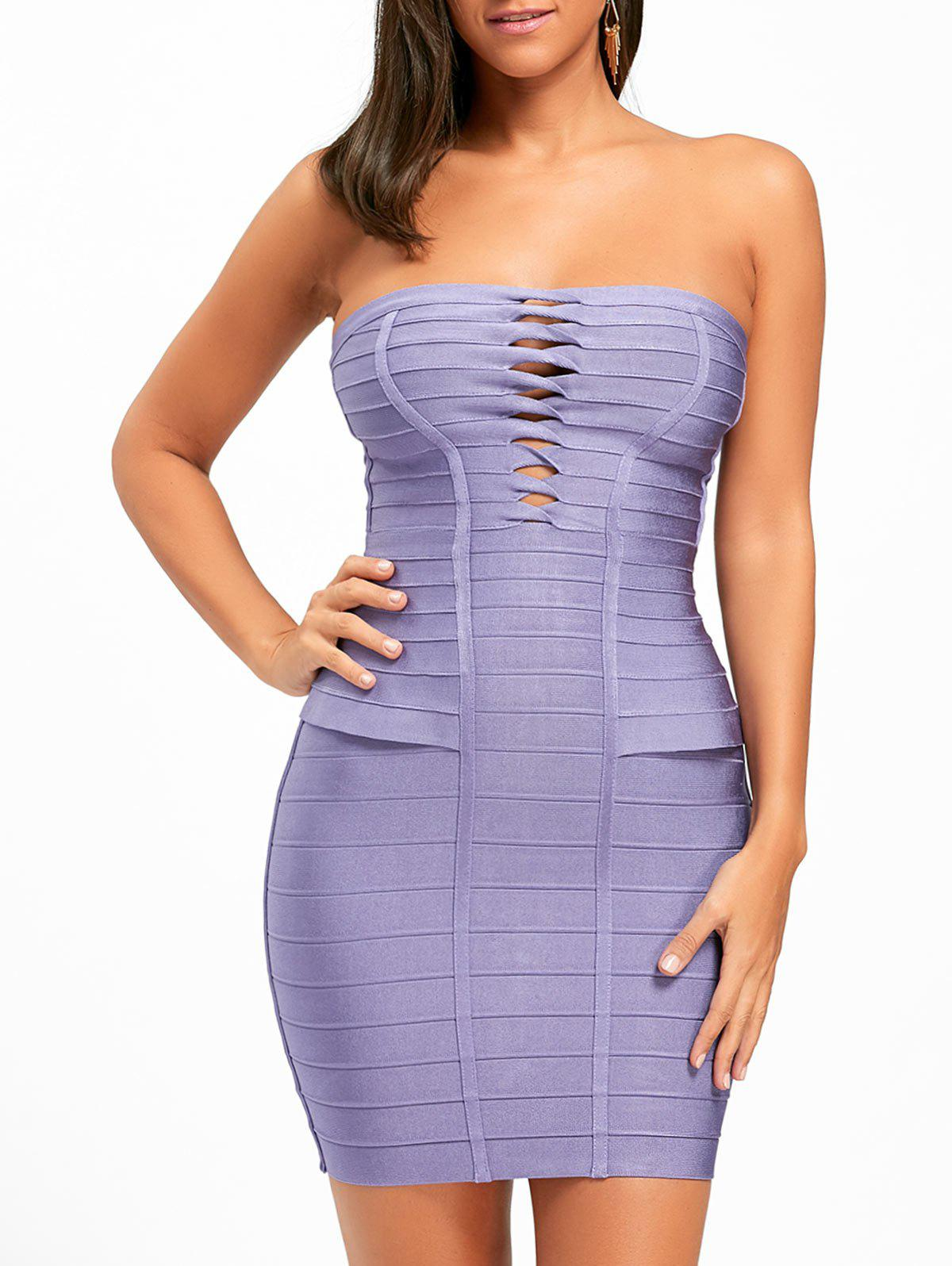 Hollow Out Bandeau Bandage Dress - PURPLE M