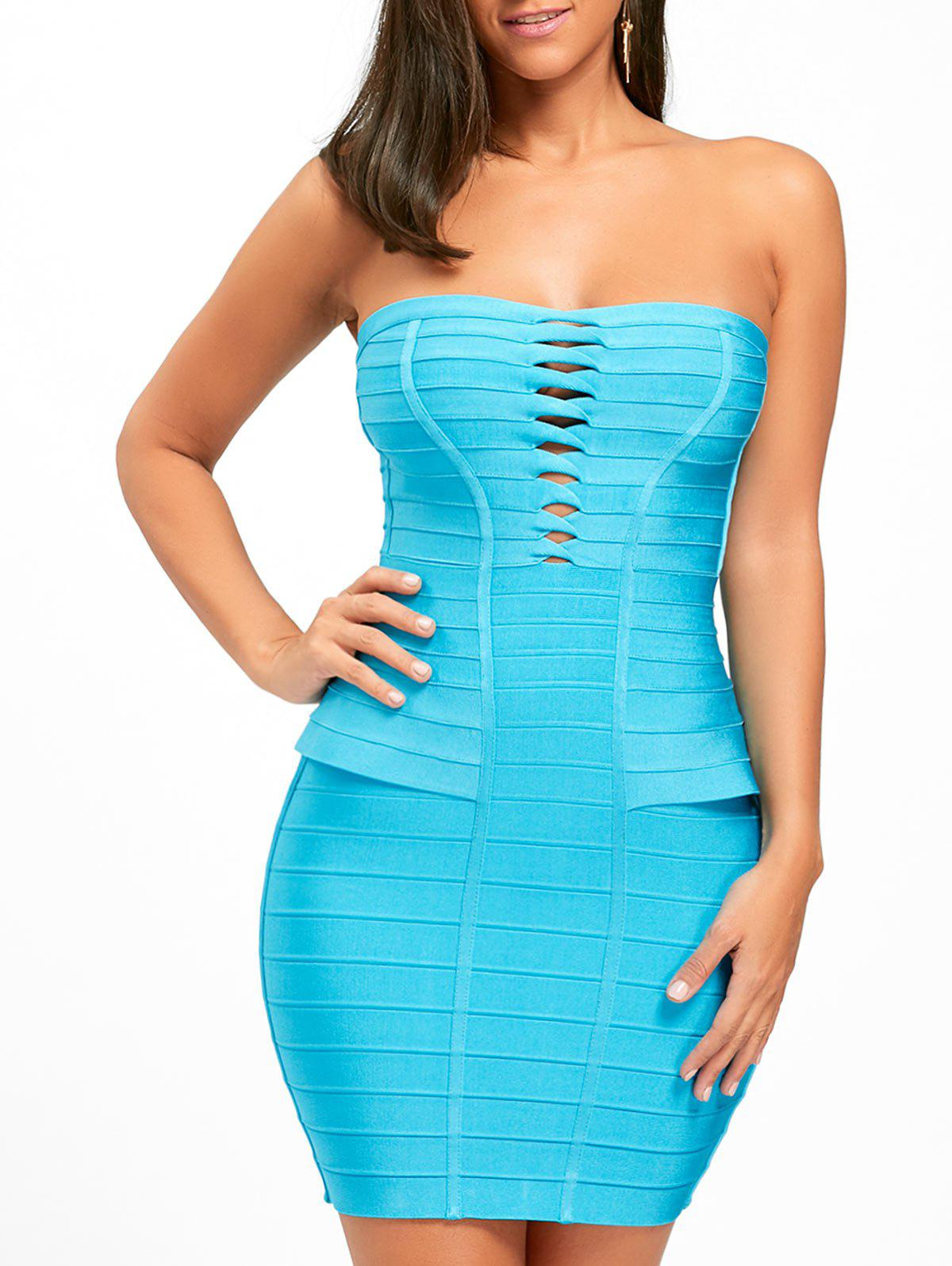 Hollow Out Bandeau Bandage Dress - BLUE S