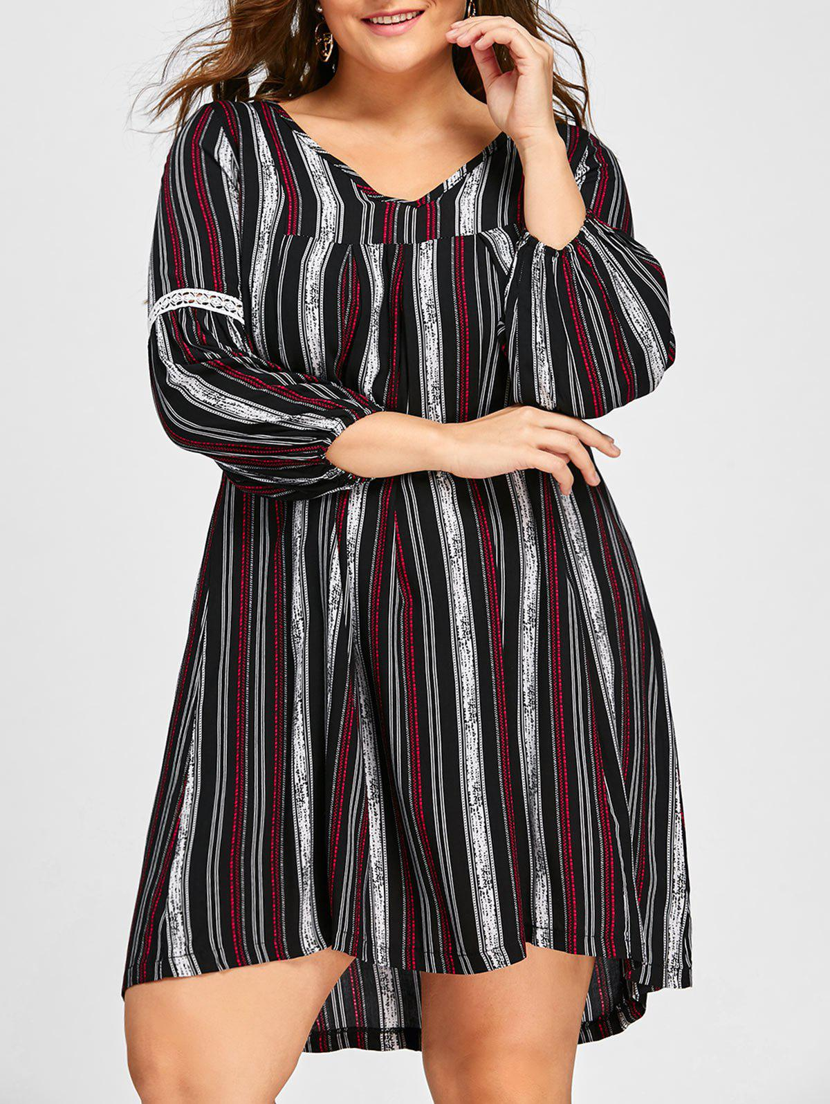 Plus Size Striped V Neck Dress - BLACK XL