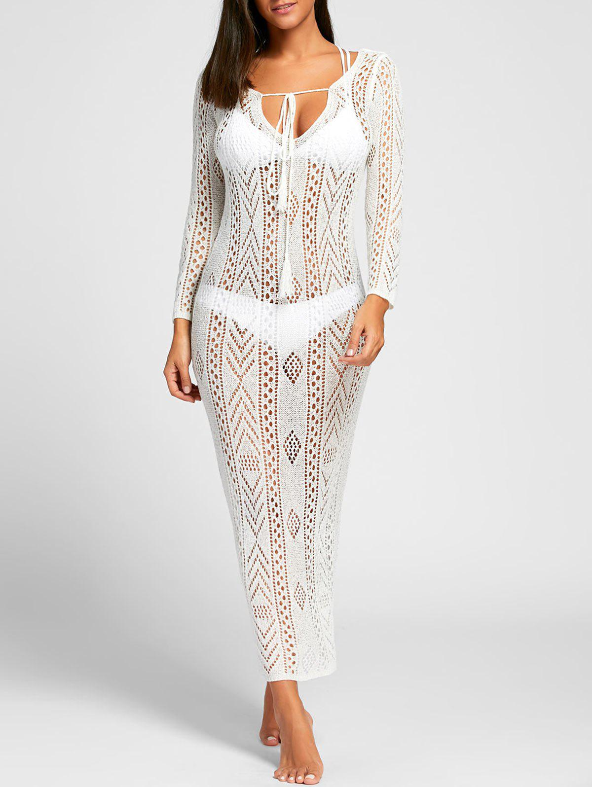 Crochet Boho Cover Up Dress - WHITE L