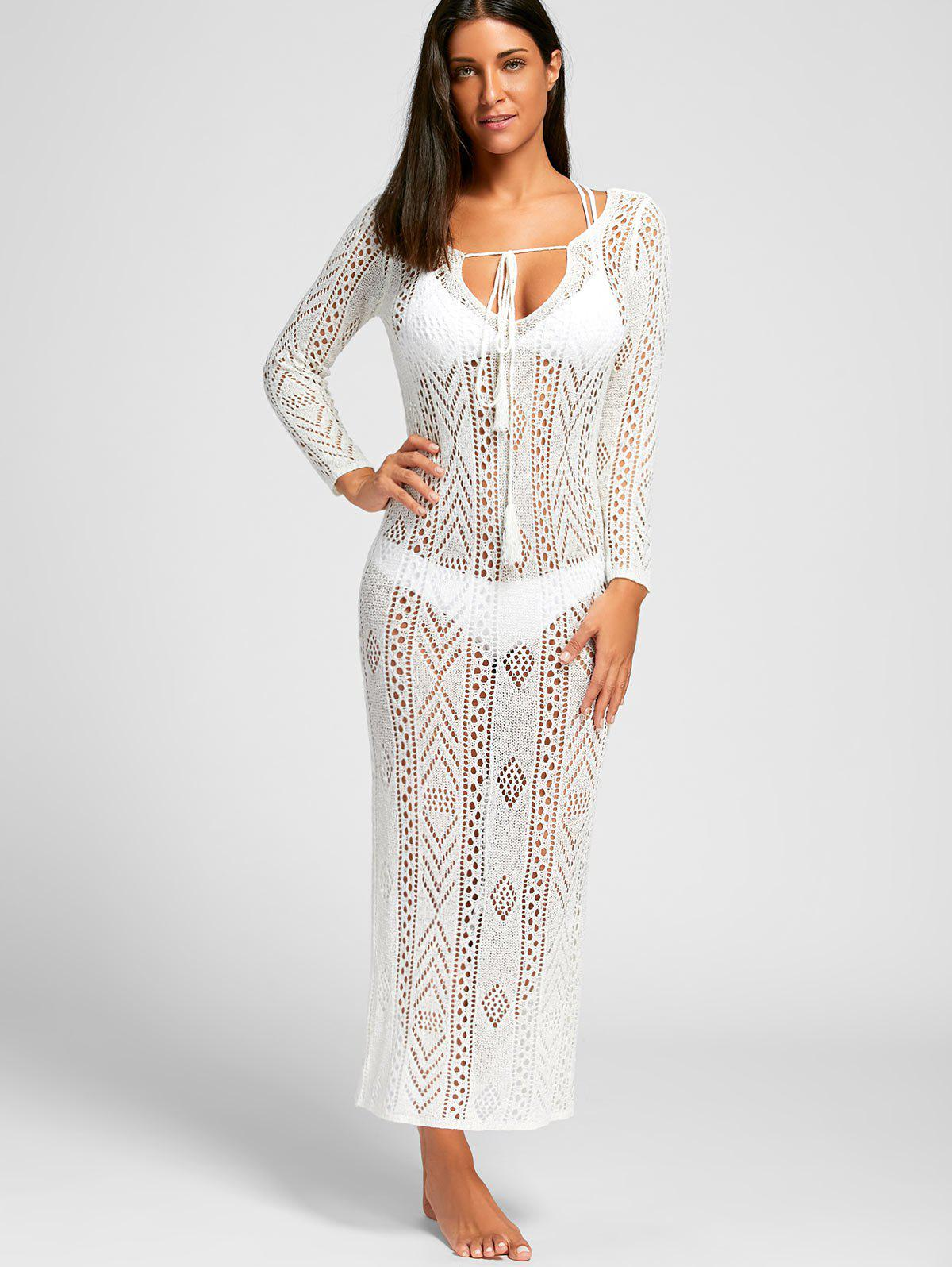 Crochet Boho Cover Up Dress - WHITE XL
