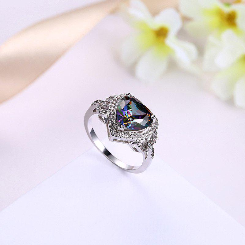 Faux Gemstone Heart Sparkly Finger Ring - SILVER 7