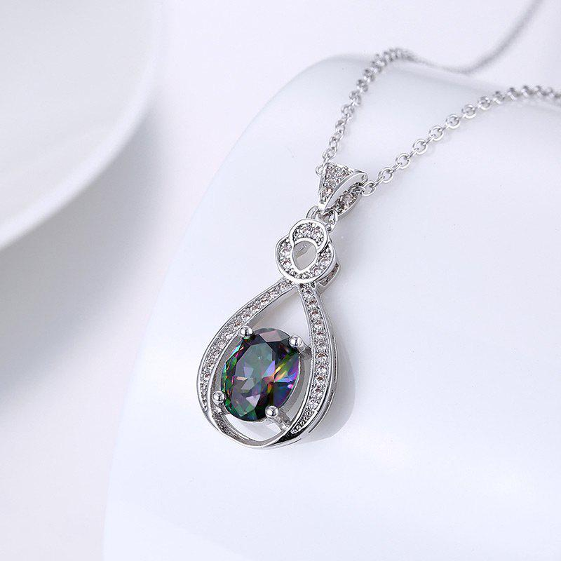 Faux Gemstone Collarbone Teardrop Oval Necklace - SILVER