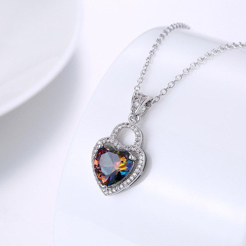 Faux Gemstone Collarbone Heart Necklace - Argent