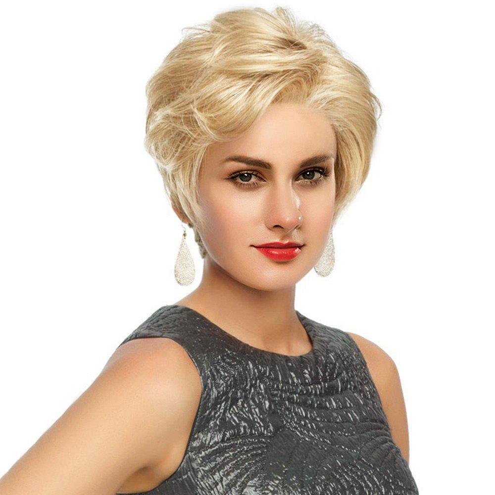 Short Side Fringe Fluffy Slightly Curled Human Hair Lace Front Wig - BLONDE/AUBURN BROWN