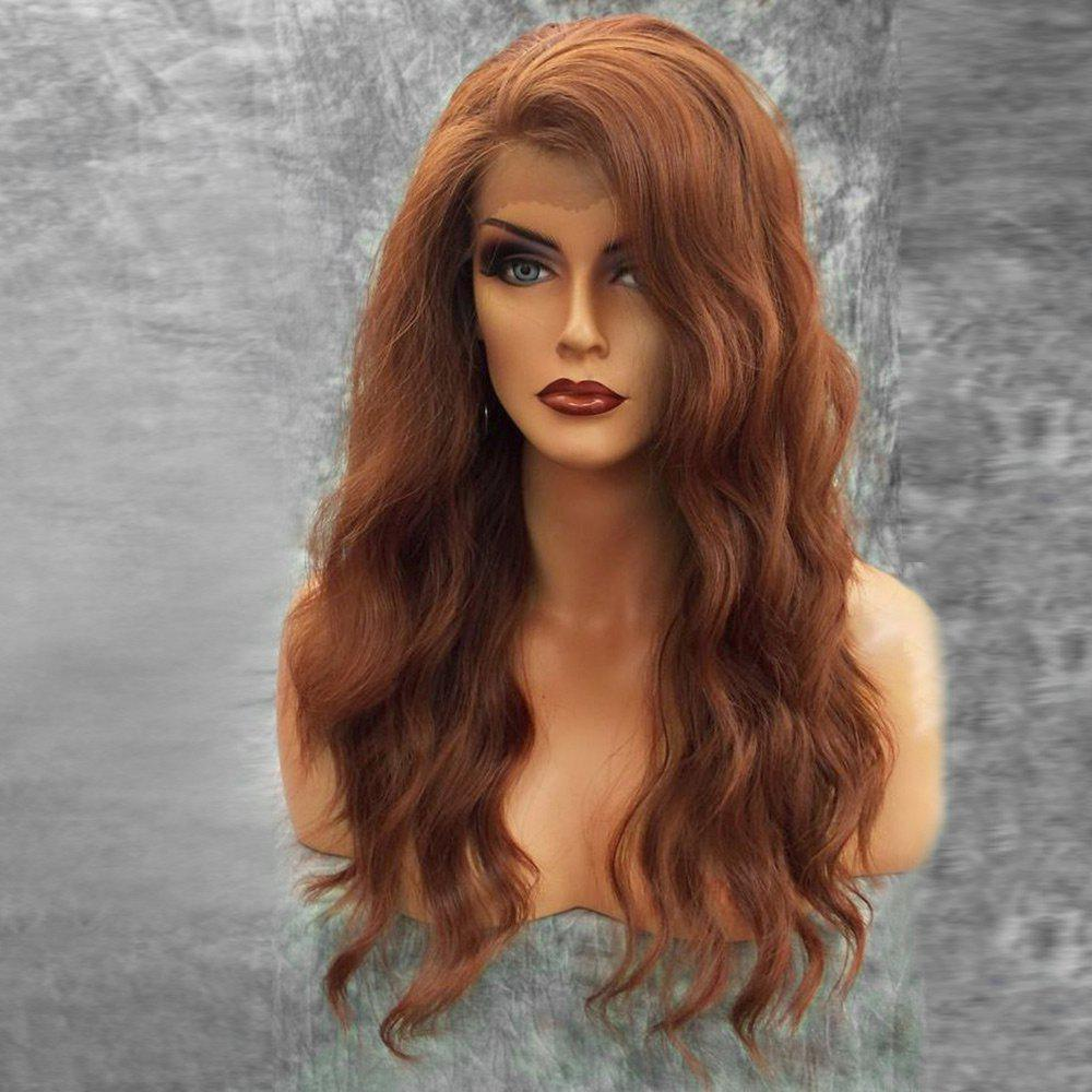 Long Inclined Bang Fluffy Natural Wavy Lace Front Human Hair Wig - AUBURN BROWN