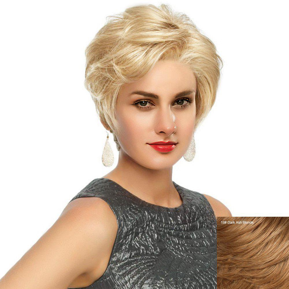 Short Side Fringe Fluffy Slightly Curled Human Hair Lace Front Wig - DARK ASH BLONDE