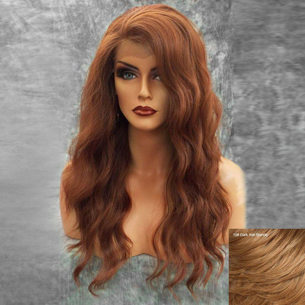 Long Inclined Bang Fluffy Natural Wavy Lace Front Human Hair Wig - DARK ASH BLONDE
