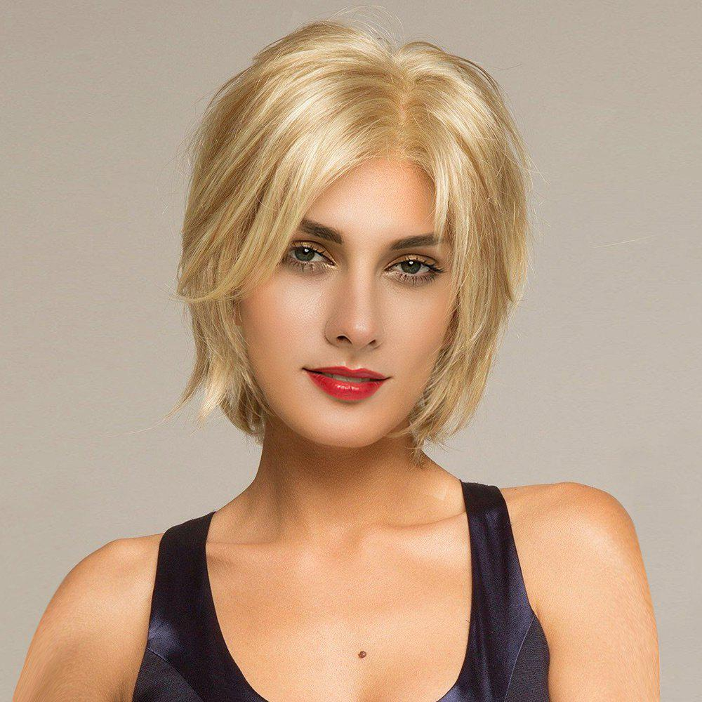 Short Side Parting Shaggy Straight Human Hair Lace Front Wig - GOLDEN BROWN/BLONDE