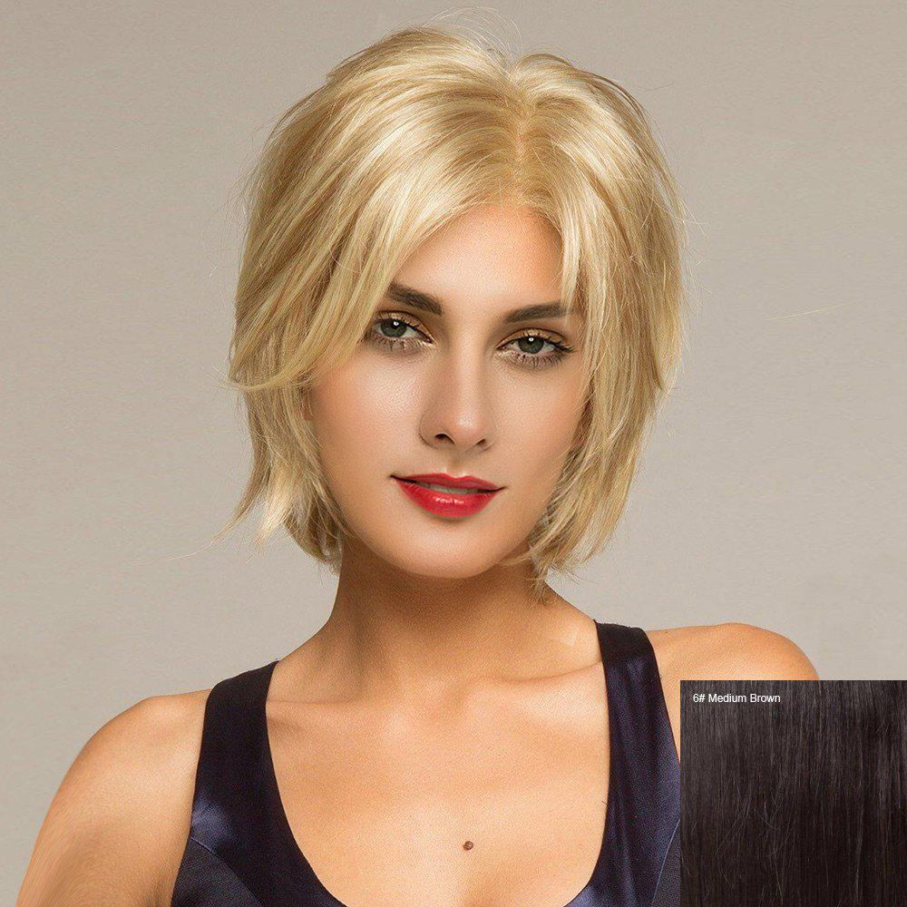 Short Side Parting Shaggy Straight Human Hair Lace Front Wig - MEDIUM BROWN