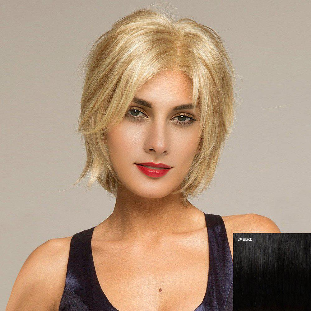 Short Side Parting Shaggy Straight Human Hair Lace Front Wig - BLACK
