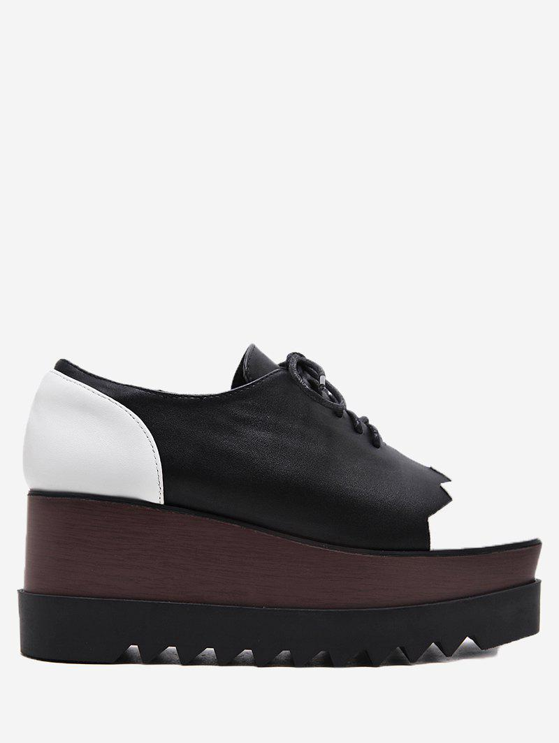 Color Block Faux Leather Wedge Shoes - BLACK 39