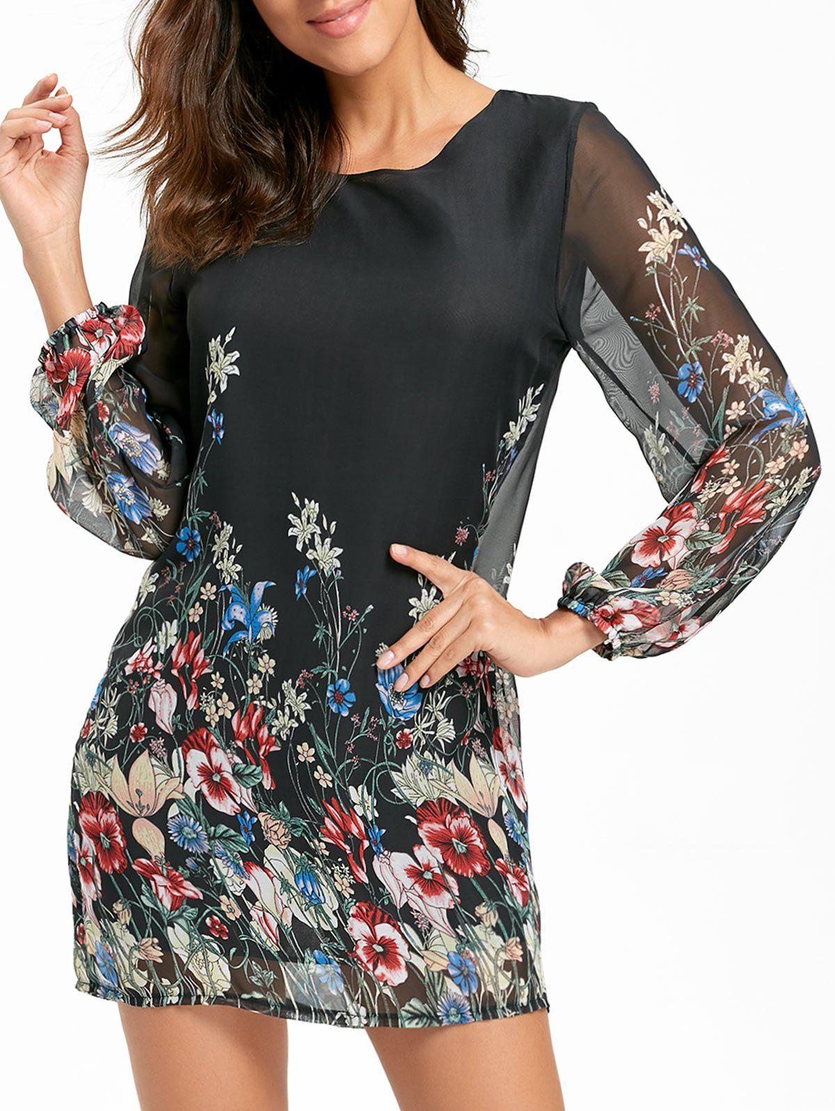 Sheer Long Sleeve Floral Chiffon Mini Dress - BLACK L
