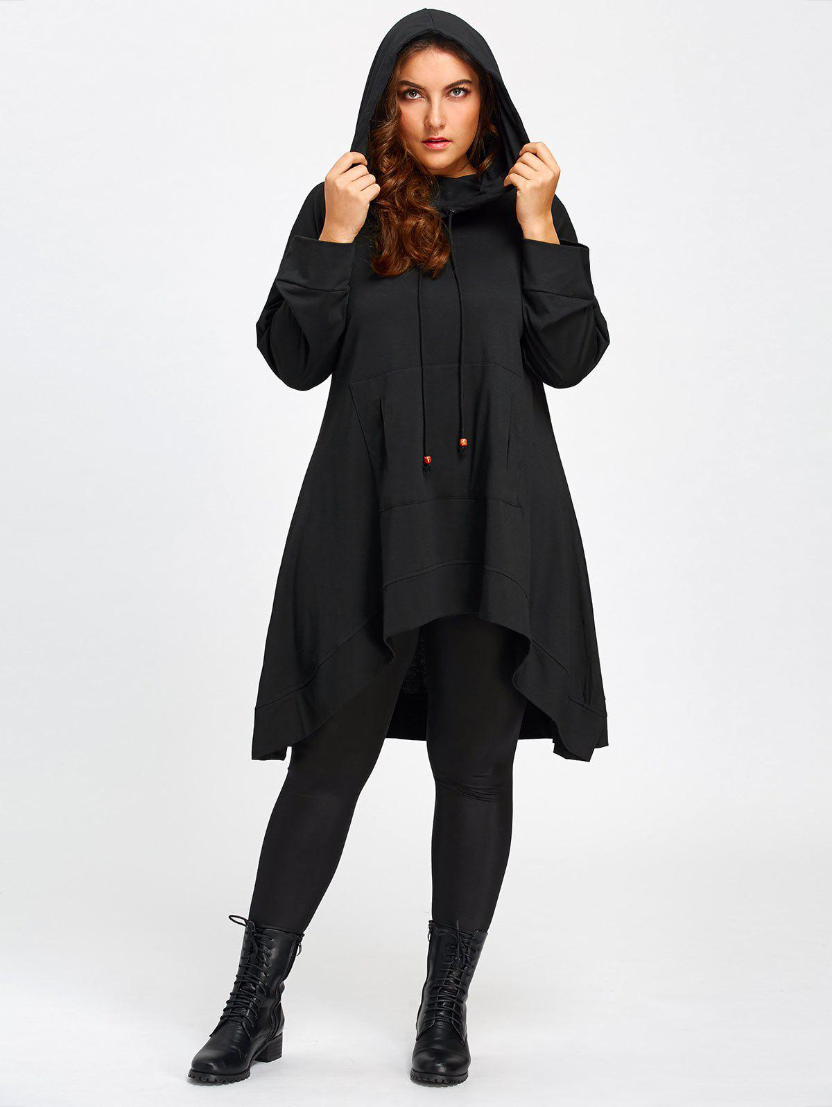 Plus Size Heaps Collar High Low Long Hoodie plus size funnel collar maxi asymmetric hoodie