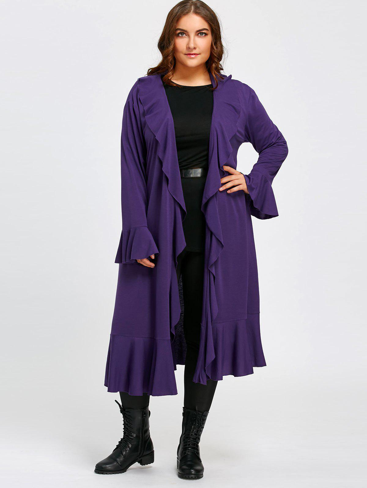 Plus Size Ruffles Open Front Long Coat худи drywash drywash dr592emqjr63