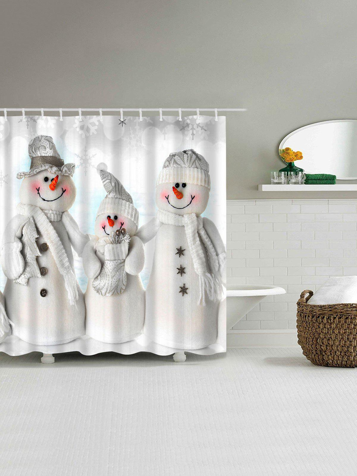2018 Waterproof Polyester Snowman Christmas Shower Curtain Grey White W Inch L Inch In Shower