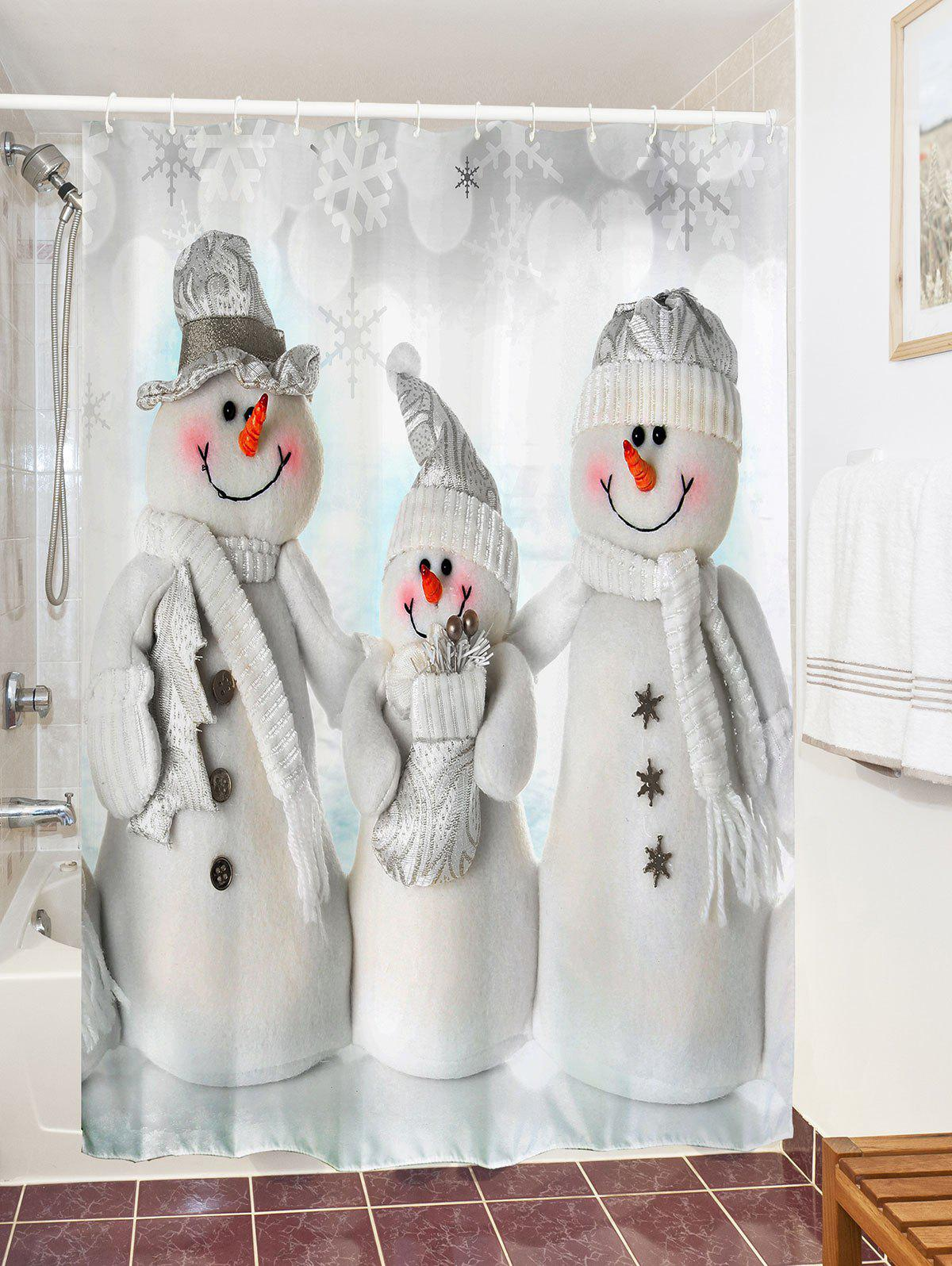 Waterproof Polyester Snowman Christmas Shower Curtain - GREY WHITE W71 INCH * L79 INCH