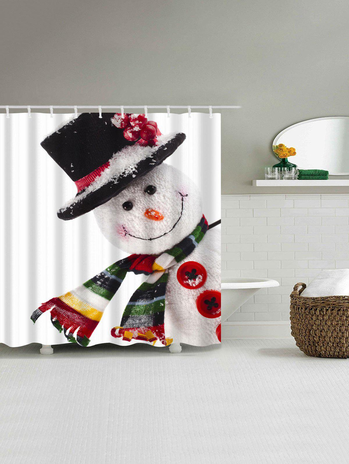 Polyester Waterproof Christmas Snowman Shower Curtain - WHITE W59 INCH * L71 INCH