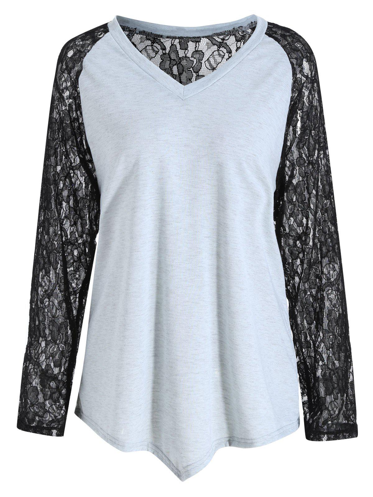 Plus Size Sheer Lace Sleeve Panel Asymmetric T-shirt - GRAY 2XL