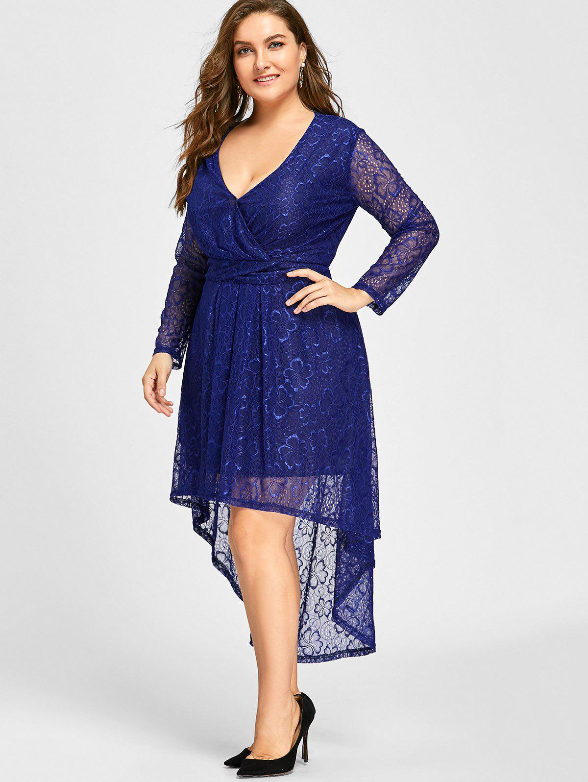 Plus Size Surplice Lace High Low Dress - BLUE XL