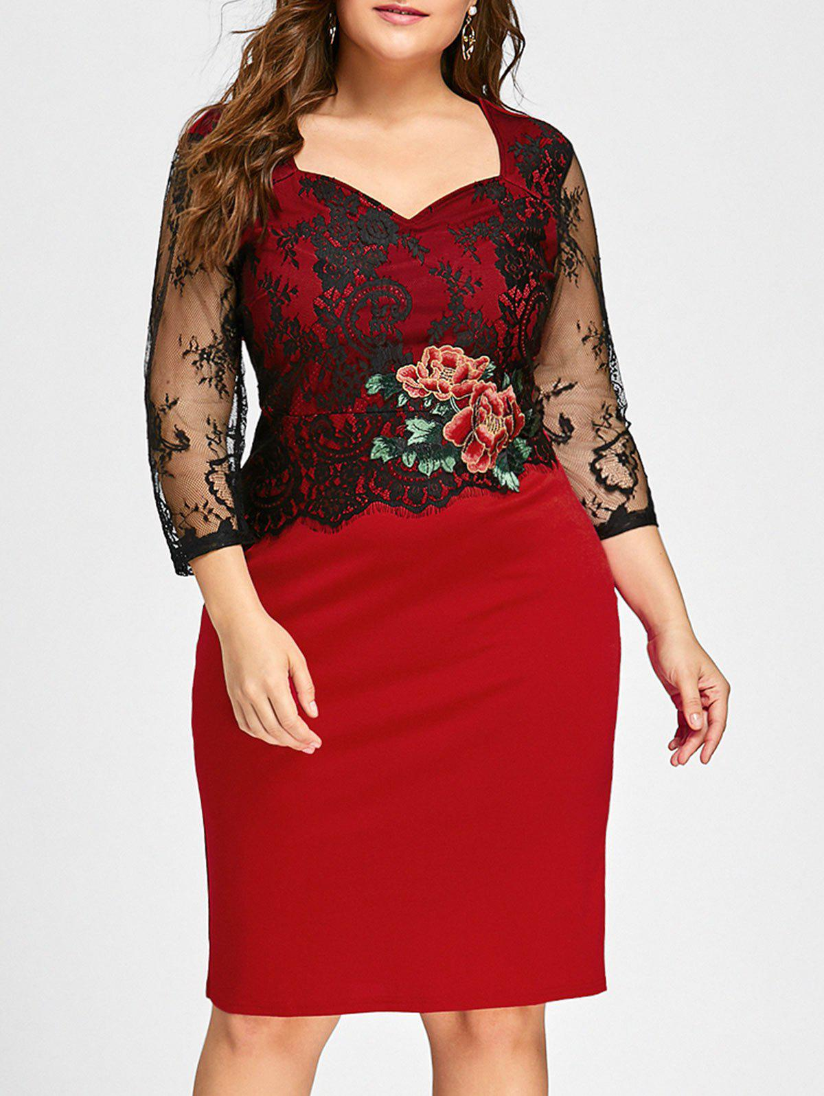 Plus Size Lace Panel Floral Applique Bodycon Dress - RED 4XL