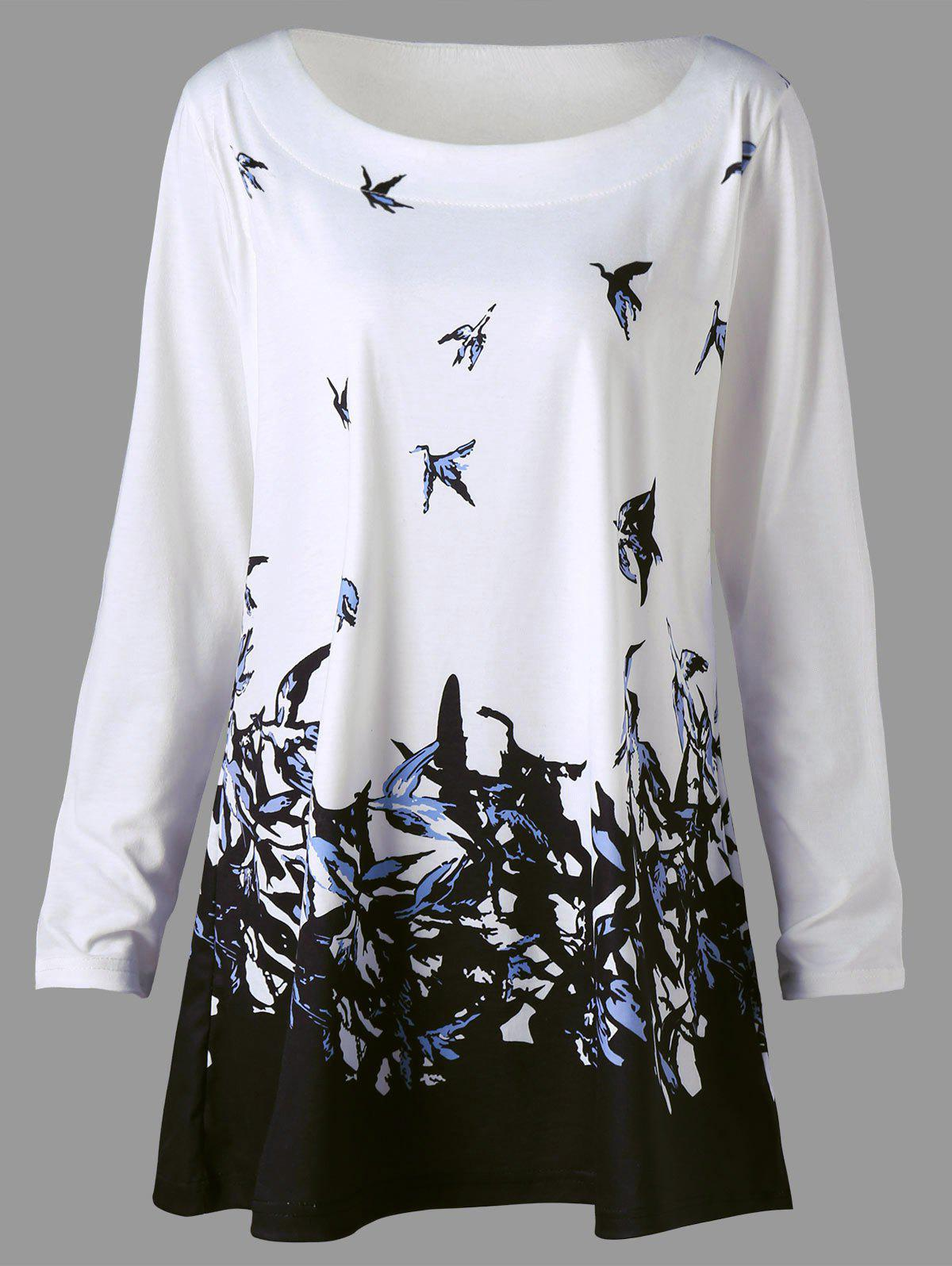 Plus Size Bird Print Long Sleeve T-shirt - WHITE 2XL