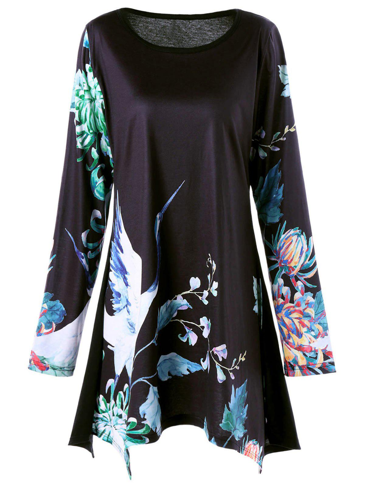 Plus Size Floral Crane Print Long Sleeve Asymmetric T-shirt - BLACK 3XL