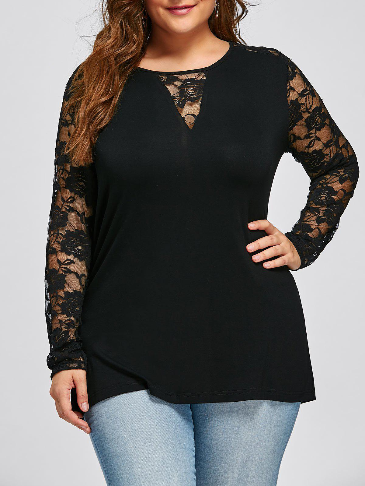 Plus Size Lace Yoke Long Sleeve Top - BLACK XL