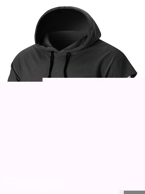 Graphic Patch Distressed Sleeve Pullover Hoodie polaris am vapour