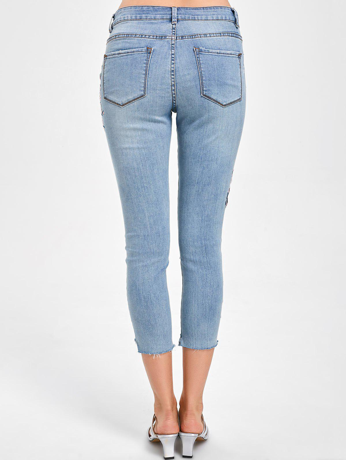 Embroidery Faded Capri Jeans - DENIM BLUE M